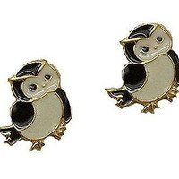 Basket Hill , Owl with Black ,White and Gold Tone Post Earrings