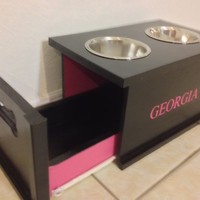 Dog Bowl Stand with Sliding Drawer to Store Food