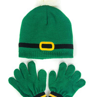 Green Contrast Bobble Beanie Hat Of Knitted Set