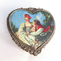 Vintage Heart Trinket Box Heart Jewelry Box Victorian Jewelry Box Heart Shaped Courting Couple French Romantic Decor Japan Fourever Seven