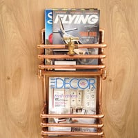 Two Level Copper Magazine Rack, Industrial Design Copper Pipes Rack, Man Cave Decor, Modern Design, Gift for Him, Wall Rack Steampunk Design