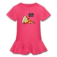 Funny Cartoon Pizza - Statement / Funny / Quote Girl's Ruffle T-Shirt