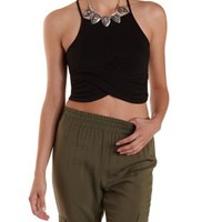 Racer Front Ruched Wrap Crop Top by Charlotte Russe