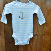 0-3m Faded Anchor Onesuit/ Anchor Onesuit/ Baby Boy Bodysuit
