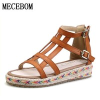 2018 New Women Gladiator Sandals Bohemia Fashion Girls Platform Sandals Casual Summer Shoes Woman Wedges Beach Sandals 7778W