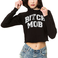 The Bitch Mob Cropped Sweatshirt in Black