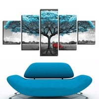 5 Pieces Blue Big Teal Blue Tree Red Chair Picture Abstract Landscape Poster Wal