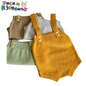 Baby Knitting Rompers Cute Overalls born Baby Girls Boys Clothes Infantil Baby Girl Boy Sleeveless Romper Jumpsuit 0-24m