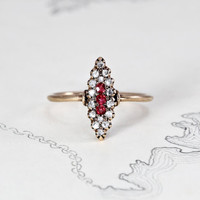Victorian Diamond & Ruby Navette Ring, Antique 10k Rose Gold Rustic Rose Cut Marquise, Bohemian Love Token Gift Alternative Engagement