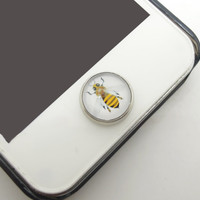 1PC Retro Glass Epoxy Transparent Times Gems Cute Bumblebee Alloy Cell Phone Home Button Sticker Charm for iPhone 6, 4s,4g,5,5c