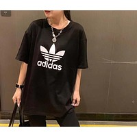 """Adidas"" Woman Leisure Fashion Letter Luminous Personality Printing Loose Short Sleeve Motion Tops"
