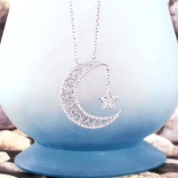 Ornate Crescent Moon & Star Necklace with Crystals