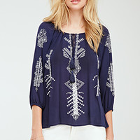 Embroidered Self-Tie Peasant Top