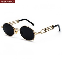 Peekaboo retro steampunk sunglasses men round vintage 2018 metal frame gold black oval sun glasses for women red male gift