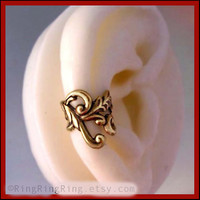 Empire ear cuff earring jewelry Antiqued gold by RingRingRing