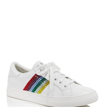 MARC JACOBSEmpire Embellished Stripe Low Top Leather Lace Up Sneakers