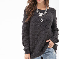 FOREVER 21 Wavy Knit Raglan Sweater Charcoal