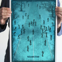 The walking dead poster digital print zombie art original geek blue gothic poster horror movie