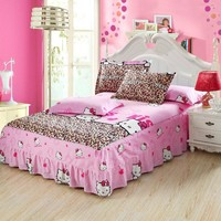 New butterfly love flowers print bedspread 100% cotton bed skirt bed sheet bedding bed set full queen king size hello kitty bed