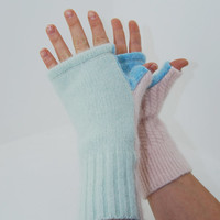 Fingerless Mitts in Mint Green Blue Sky and Pale Cotton Candy Pink - Recycled Wool
