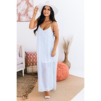 Caught In The Moment Spotted Maxi Dress (Light Blue/White)