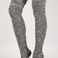 Speckled Woven Thigh High Socks