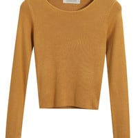 Long Sleeves Round Neckline Knitted Cropped Top