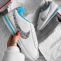 Nike Classic Cortez Forrest Sports Shoes Classic Shoes Leisure Sneakers White With black white Graffiti Hook