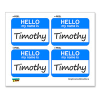 Timothy Hello My Name Is - Sheet of 4 Stickers