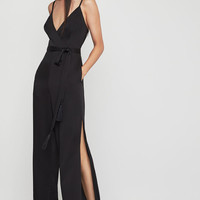 Faux Wrap Satin Jumpsuit