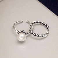 Knock 2PCS/set Vintage Antique Silver Twisted Woven Inset Imitation Pearl Opening Rings Sets For Girl Simple Rings-in Rings from Jewelry & Accessories on Aliexpress.com | Alibaba Group