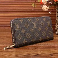 LV Women Zipper Leather Wallet Purse LV pattern I-LLBPFSH
