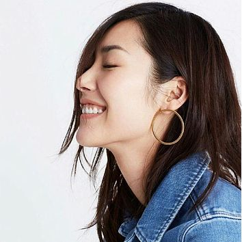 Simple Round Circle Big Earrings For Women Bijoux New Trendy Jewelry Earings Gold-color Punk Earring Stud