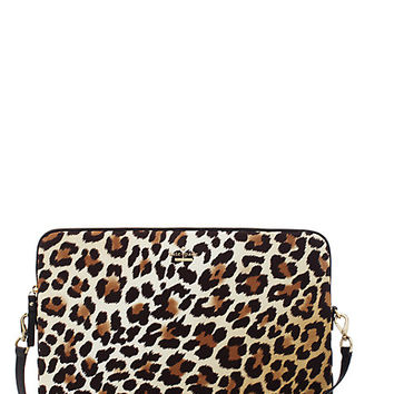 Kate Spade Nylon Leopard Print Laptop Sleeve With Strap Natural ONE