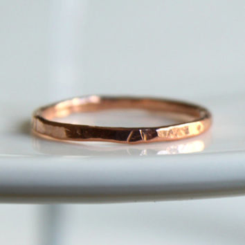Thin Rose Gold Stackable Ring Skinny Hammered Stack Ring Rustic Slim Everyday Simple Modern Minimal Stack Ring