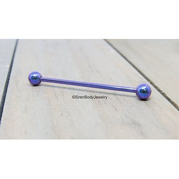 Blurple 14g titanium industrial piercing barbell pick your length internally threaded hypoallergenic