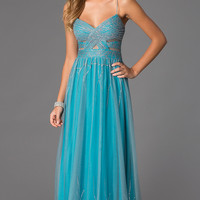Spaghetti Strap Cut Out Prom Dress