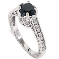 1 1/4ct Vintage Black Diamond Engagement Ring 14K White Gold