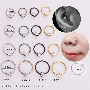 Sold By Piece Freedom Fashion Septum Clicker Chain CZ Embedded Hoop 316L Surgical Steel