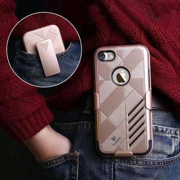 For iPhone 7 Plus Cases Floveme Hard PC+Soft Silicone Detachable Belt Clip Full Body