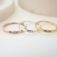 Custom Delicate Name Ring • Custom Stacking Rings • Skinny Custom Ring • Bridesmaids Gift • Baby Name Mom Gifts • MOTHERS DAY GIFT • RM21F31
