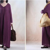 Women linen dress maxi dress loosr dress winter dress  Casual dress/Loose Fitting dress/Long Sleeve dress autumn clothing plus size dress