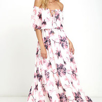 Infinite Love Ivory Floral Print Off-the-Shoulder Maxi Dress