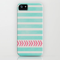 STRIPES AND ARROWS - PINK & BLUE iPhone & iPod Case by Allyson Johnson