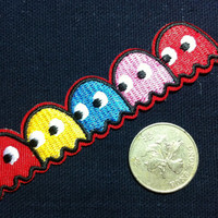 Lot Of 2 Pieces Classic Games Pac Man Badge (2.2 x 10 cm) Embroidered Iron on Applique Patch (AL)