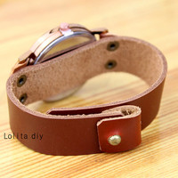 Map of the world watches - handmade retro brown leather watch gift, Christmas gift