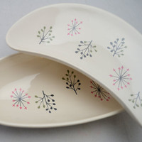 Set of Two Mid Century Franciscan Plates, Echo Pattern, Crescent Shaped Plate and Relish Tray, 1950s