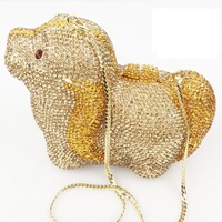 Luxury Rhinestone Dog Animal Wedding Evening Party Prom Clutch