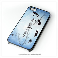 Peter Pan Never Grow Up On Star Sky Galaxy Nebula iPhone 4 4S 5 5S 5C 6 6 Plus , iPod 4 5 , Samsung Galaxy S3 S4 S5 Note 3 Note 4 , HTC One X M7 M8 Case