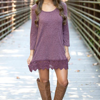 Purple Lace Sleeve Dress